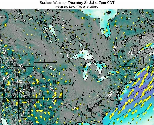 Wisconsin Surface Wind on Tuesday 03 Feb at 6am CST