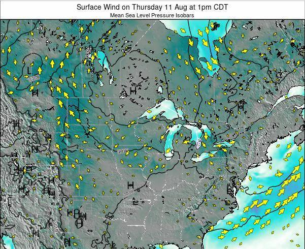 Wisconsin Surface Wind on Tuesday 22 Aug at 7pm CDT