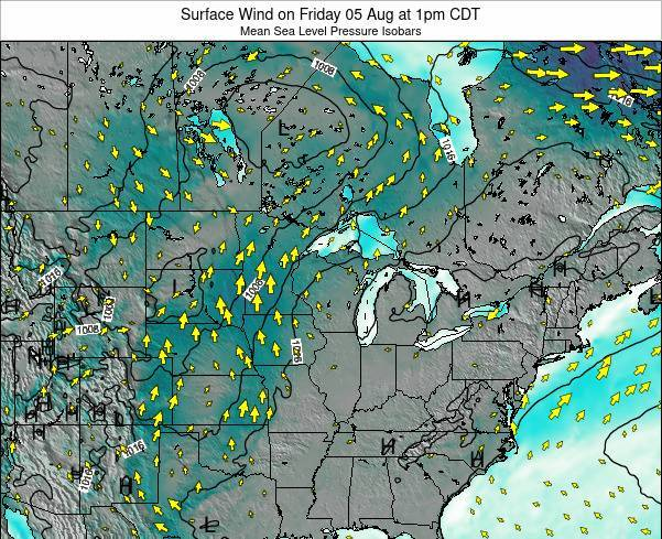 Wisconsin Surface Wind on Monday 04 Aug at 7am CDT