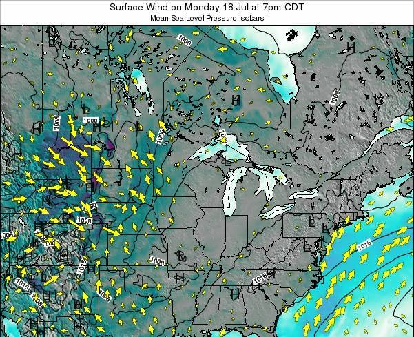 Wisconsin Surface Wind on Thursday 12 Dec at 12pm CST