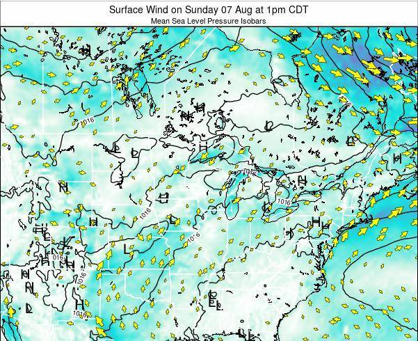 Minnesota Surface Wind on Monday 21 Apr at 1pm CDT map