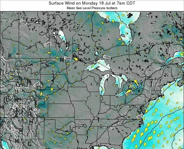 Minnesota Surface Wind on Wednesday 11 Dec at 12pm CST map