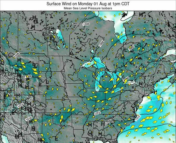 Minnesota Surface Wind on Tuesday 11 Mar at 7pm CDT map