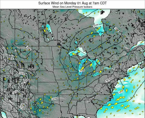 Minnesota Surface Wind on Tuesday 22 Jul at 7am CDT map