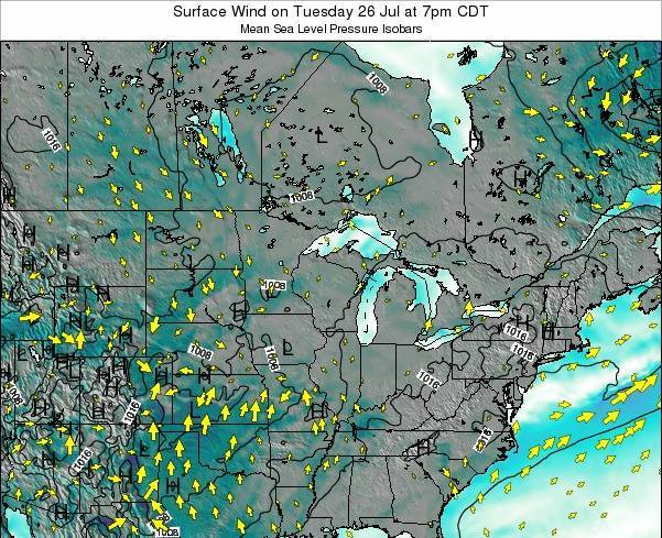 Michigan Surface Wind on Monday 27 May at 1pm CDT