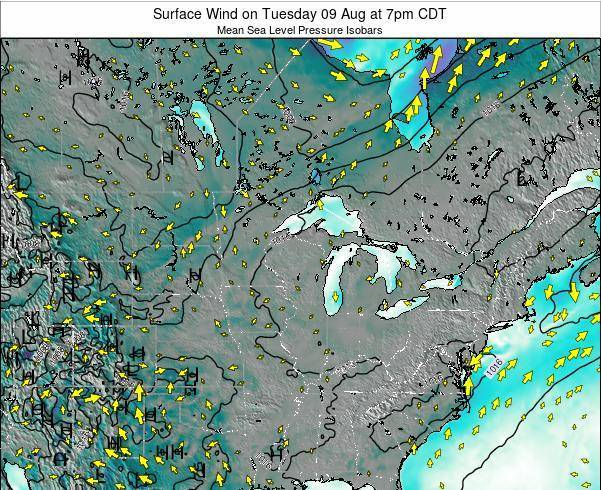 Wisconsin Surface Wind on Monday 24 Sep at 1am CDT map