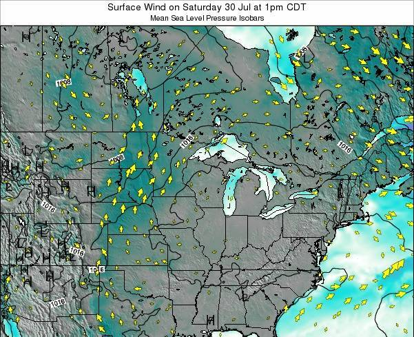Wisconsin Surface Wind on Monday 29 Sep at 1am CDT