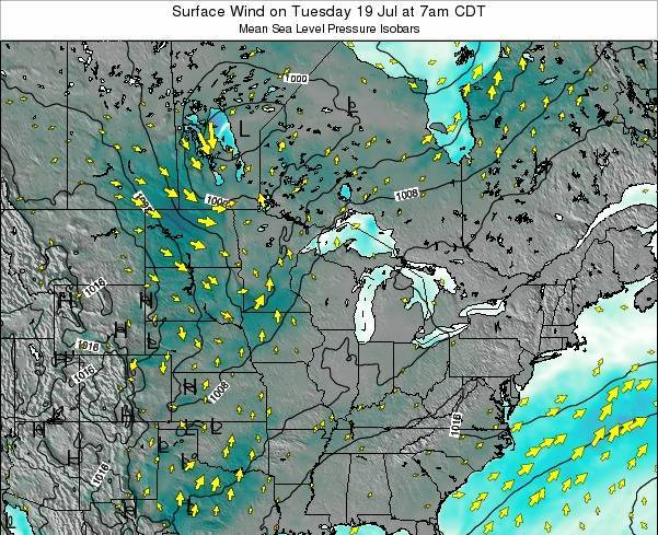 Wisconsin Surface Wind on Friday 28 Nov at 6pm CST