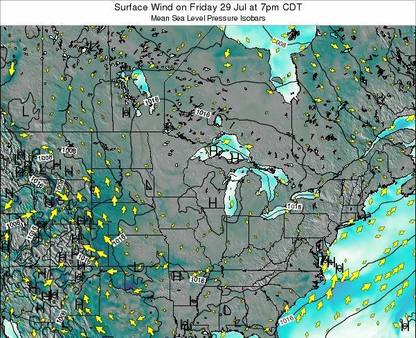 Wisconsin Surface Wind on Sunday 16 Mar at 1am CDT