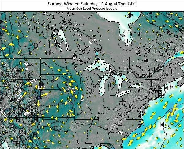 Wisconsin Surface Wind on Wednesday 06 Aug at 1am CDT