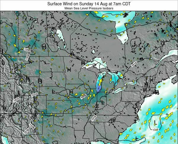 Wisconsin Surface Wind on Thursday 24 Apr at 7am CDT