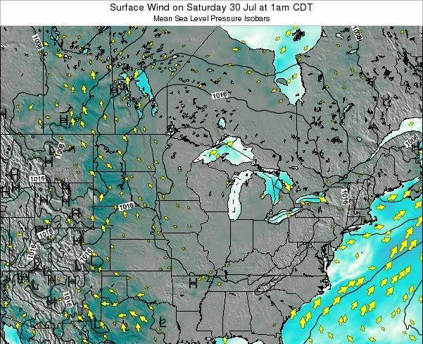 Wisconsin Surface Wind on Friday 14 Mar at 6pm CST