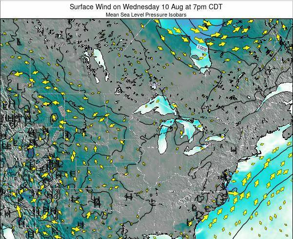 Wisconsin Surface Wind on Tuesday 05 Aug at 1am CDT