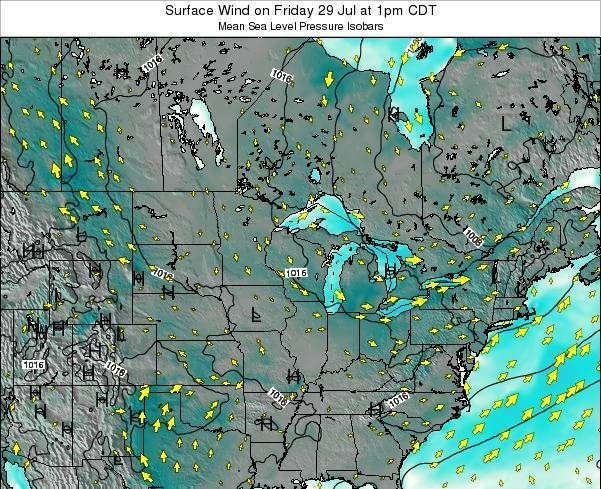 Wisconsin Surface Wind on Tuesday 29 Apr at 1pm CDT