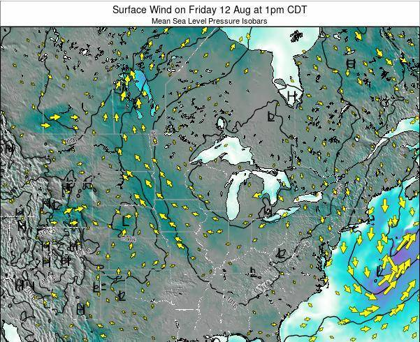 Wisconsin Surface Wind on Wednesday 29 May at 1am CDT