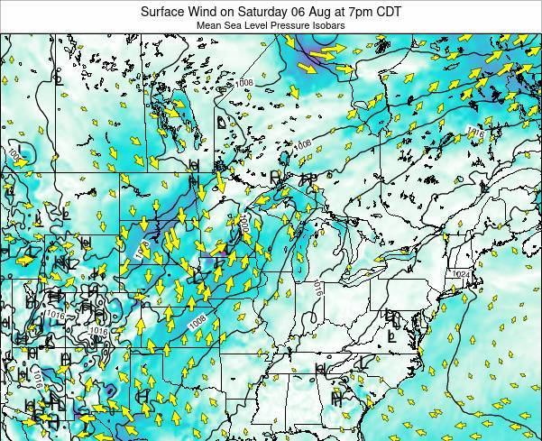 Wisconsin Surface Wind on Wednesday 18 Dec at 12pm CST