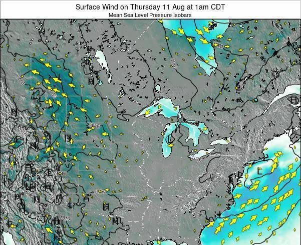 Wisconsin Surface Wind on Thursday 31 Jul at 1pm CDT