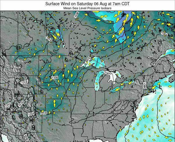 Wisconsin Surface Wind on Saturday 10 Dec at 6am CST