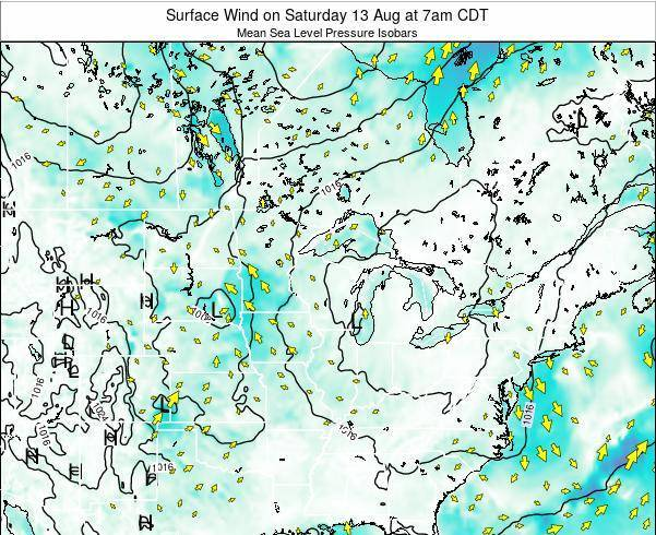 Wisconsin Surface Wind on Wednesday 06 Aug at 1pm CDT