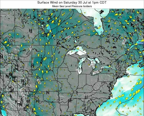 Wisconsin Surface Wind on Saturday 26 Apr at 7am CDT