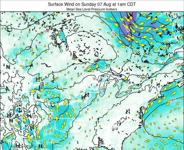 Wisconsin Surface Wind on Friday 06 Dec at 12am CST