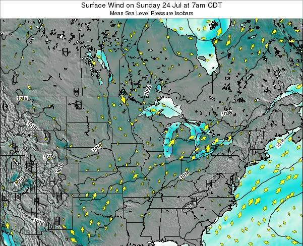 Wisconsin Surface Wind on Wednesday 12 Mar at 1am CDT