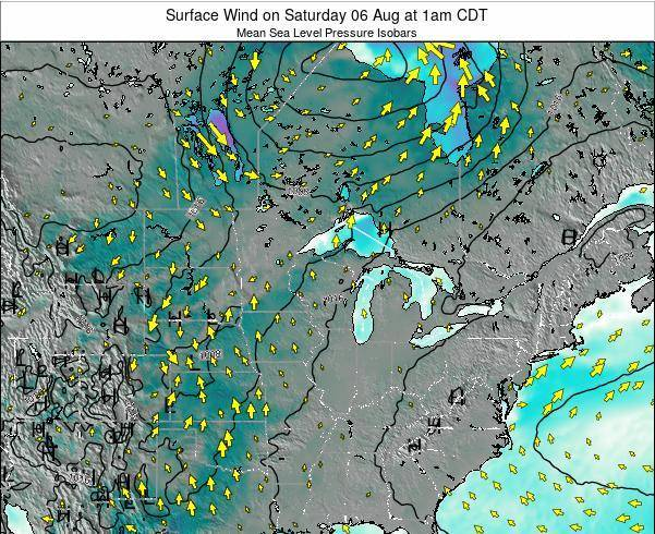 Wisconsin Surface Wind on Sunday 19 May at 7am CDT