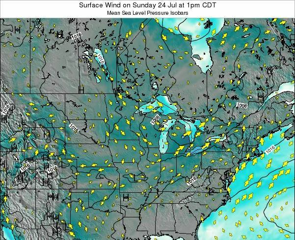 Wisconsin Surface Wind on Tuesday 17 Jan at 12pm CST