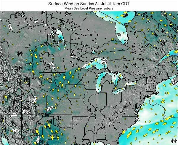 Wisconsin Surface Wind on Wednesday 12 Mar at 1pm CDT