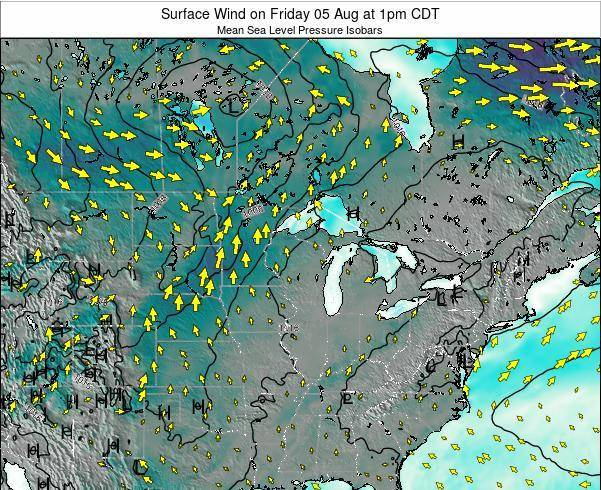 Wisconsin Surface Wind on Thursday 02 Jul at 7am CDT