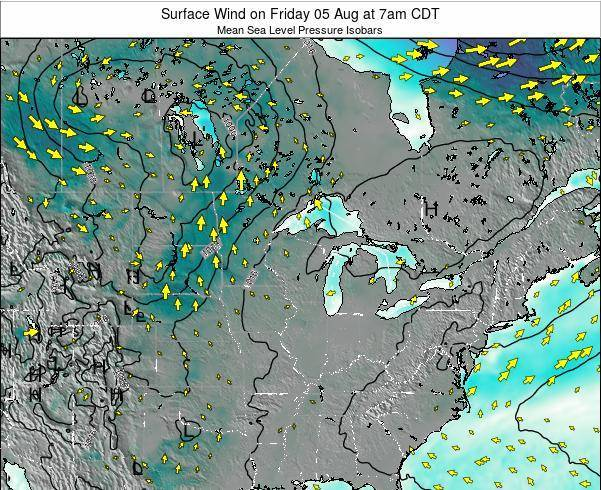 Wisconsin Surface Wind on Friday 25 Apr at 7pm CDT