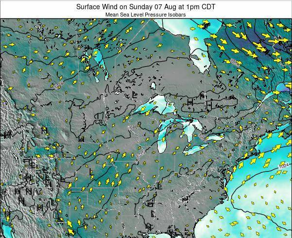 Wisconsin Surface Wind on Tuesday 10 Dec at 12pm CST