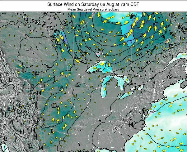 Wisconsin Surface Wind on Friday 24 Oct at 7pm CDT