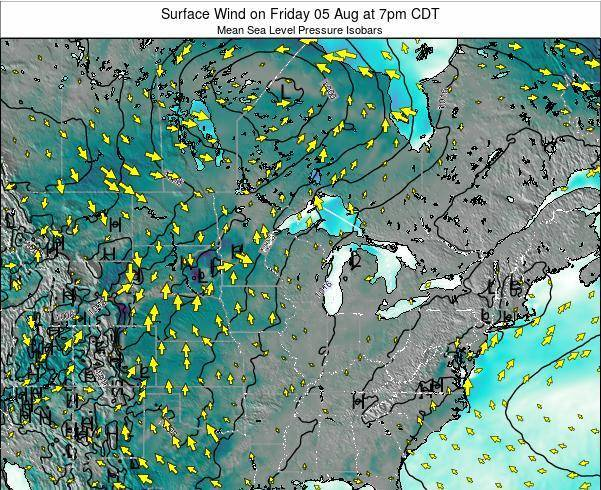 Wisconsin Surface Wind on Saturday 26 Jul at 1am CDT