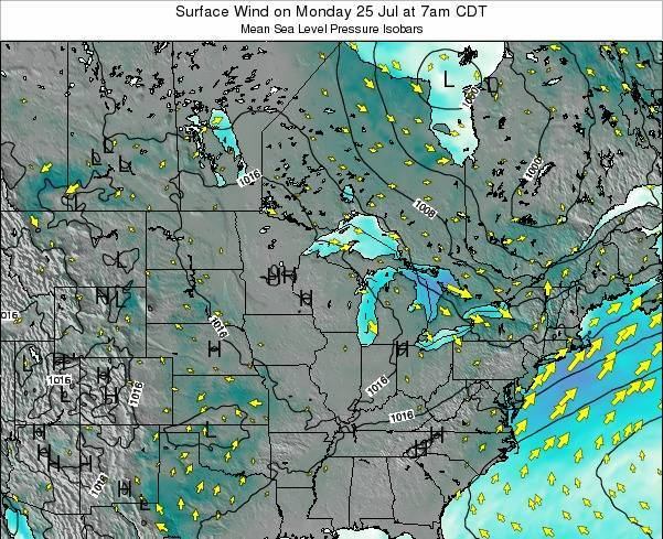 Wisconsin Surface Wind on Tuesday 29 Jul at 1am CDT