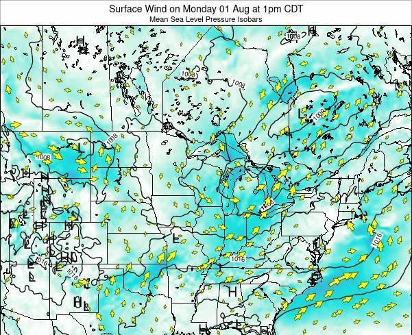 Wisconsin Surface Wind on Monday 09 Dec at 12pm CST