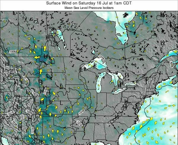Wisconsin Surface Wind on Thursday 13 Mar at 1am CDT