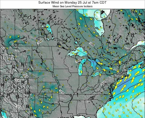 Michigan Surface Wind on Thursday 23 May at 1am CDT