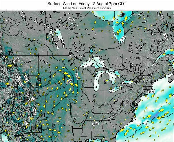 Wisconsin Surface Wind on Friday 21 Jun at 1pm CDT