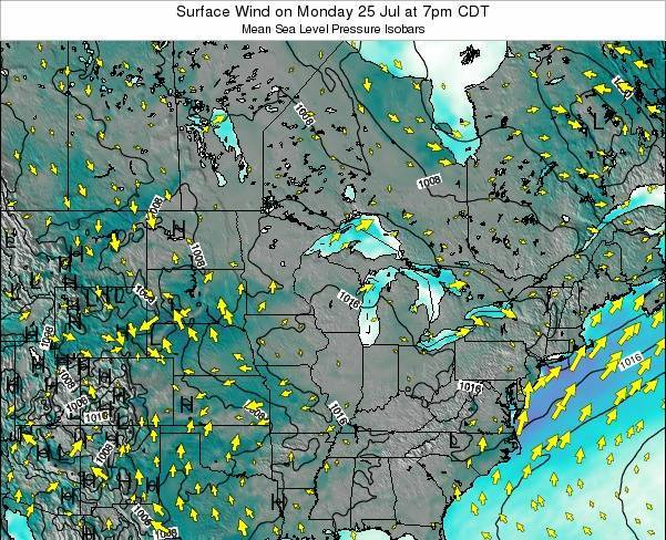 Wisconsin Surface Wind on Saturday 26 Jul at 7pm CDT
