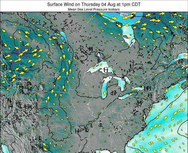 Wisconsin Surface Wind on Saturday 26 Apr at 1pm CDT