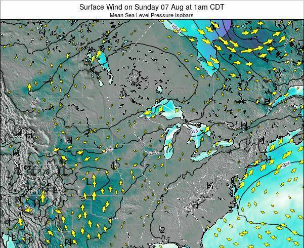 Wisconsin Surface Wind on Sunday 08 Dec at 12am CST