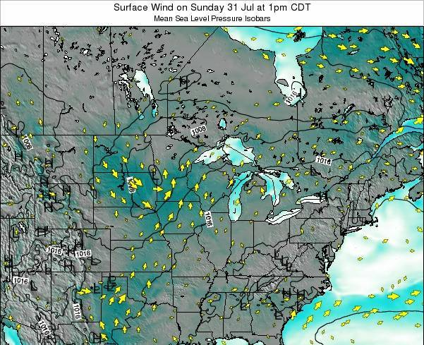 Wisconsin Surface Wind on Sunday 09 Mar at 6pm CST