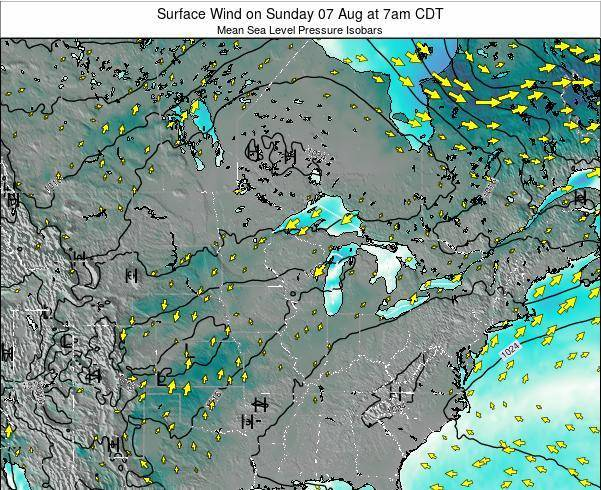 Wisconsin Surface Wind on Thursday 31 Jul at 7am CDT