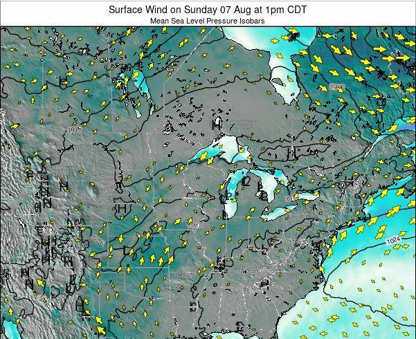 Wisconsin Surface Wind on Wednesday 29 Apr at 7pm CDT
