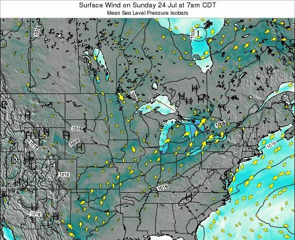 Wisconsin Surface Wind on Friday 31 Mar at 1pm CDT