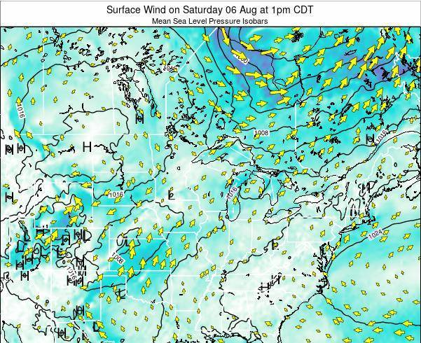 Wisconsin Surface Wind on Sunday 09 Mar at 1am CDT