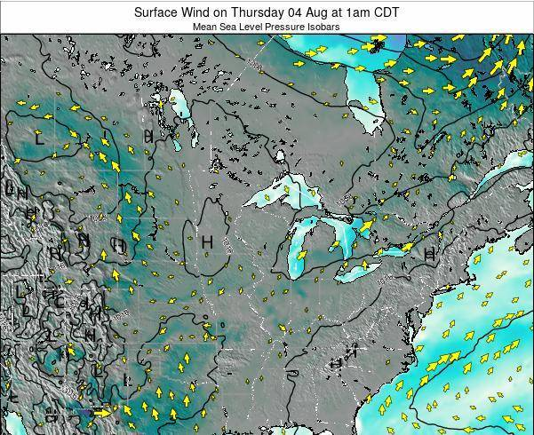 Wisconsin Surface Wind on Saturday 25 May at 7am CDT