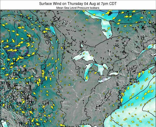 Wisconsin Surface Wind on Wednesday 23 Apr at 7am CDT