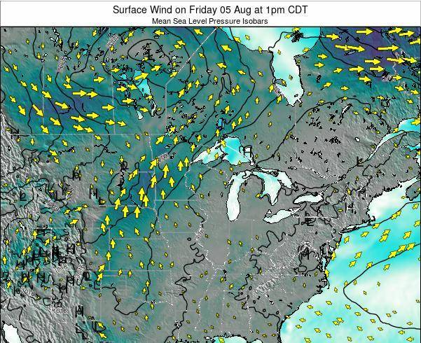 Wisconsin Surface Wind on Wednesday 16 Apr at 7pm CDT